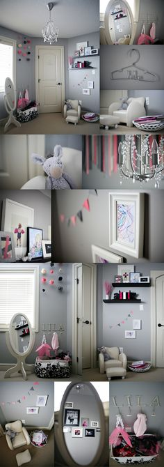 Cute ideas here for a little girls room.  Love the bunting and the personalized wire coat hanger!