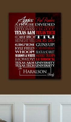Texas A&M University Aggies / Texas Tech University Red Raiders HOUSE DIVIDED!