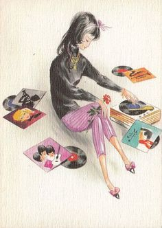 Girl playing a record