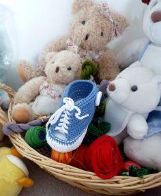 chausson-baskets-bébé-crochet-Natura-DMC