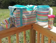 How cute!!! Wal-Mart pitcher & bowls to (perfectly) match Thirty-One's new summer print  Sunny Stripe! Get the  perfect Summer cooler at www.mythirtyone.com/WhateverFloatsYourTotes/