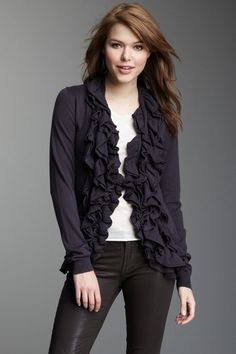 Romeo & Juliet Couture Ruffle Front Sweater