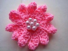 How to CROCHET FLOWER # 13, multi-petal flower, each petal made individu...