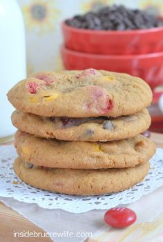 Soft chewy cookies made with pumpkin pudding, chocolate chips and fall colored M&M candies