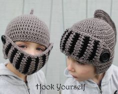Crochet Armour/Knight Helmet with Movable Mask.