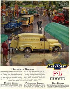 Chev Vintage Classic yellow panel truck ad
