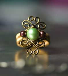 Mint Green and Cranberry Freshwater Pearl Bronze Ring by Moss & Mist Jewelry by Moss & Mist Jewelry, via Flickr