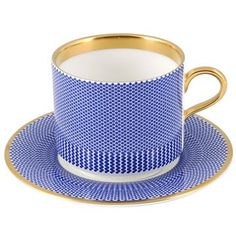 'The New English Benday Cobalt Coffee Cup and Saucer' by Switch Modern.