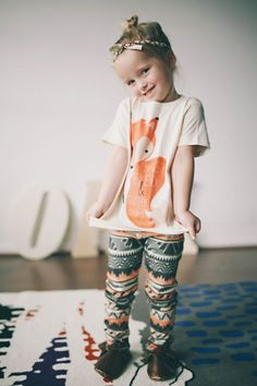 Salmon Tribal Leggings - Girls' Clothing - Children - Products