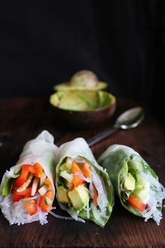 Summer Rolls with Avocado, Kale  Spicy Garlic Peanut Sauce