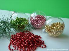 Decoraciones para #Navidad económicas con adornos de perlas navideñas