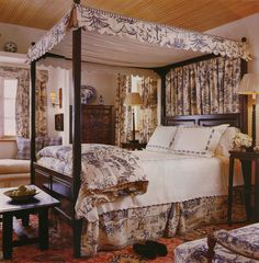 blue toile bedroom - House Beautiful, January 2004 - designer Dan Carithers