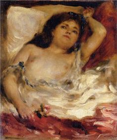 Reclining Semi Nude (nude male half length) - Pierre-Auguste Renoir
