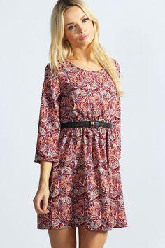 Estelle Paisley Print Skater Dress