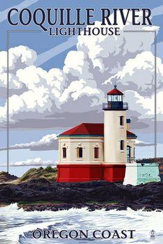 Coquille River Lighthouse - Oregon Coast - Lantern Press Poster