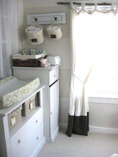 diaperchang area, hook, area storag, hang basket, curtain rods, laundry area, nurseri, storage ideas, hanging baskets