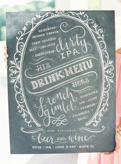 chalkboard drink menu, Photography by jenhuangphotography.com