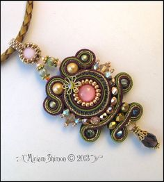 Soutache pendant necklace in Pink Olive Gold and by MiriamShimon