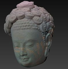 seeing buddha, derived from Head of Buddha ca. 570, digitized at #Met3D in 2012 and #made by anamarva