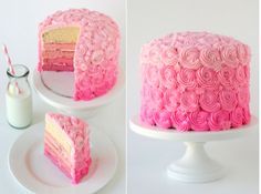Pink Rose Ombre Cake - perfect for a bridal shower! #ombre #cake #bridalshower