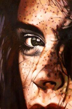 "Saatchi Online Artist: thomas saliot; Oil, Painting ""Intense Close up"" #art freckl, thoma saliot, oil paintings, intens close, painting art, saatchi onlin, onlin artist, red lips, eye"