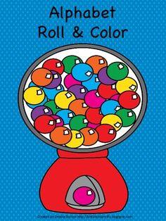FREEBIE-Alphabet Roll & Color- Bubblegum Theme!