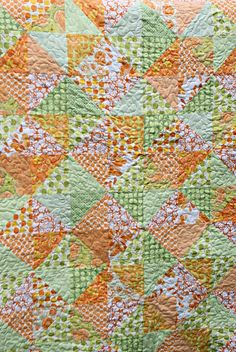 Green and orange quilt