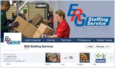 Staffing and Facebook Timelines: love ERG Staffing Services use of color and branding to showcase their specialties.