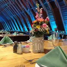 Beautiful centerpiece flowers at the Barn.