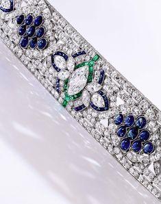 Platinum, Diamond, Sapphire and Emerald Bracelet, Oscar Heyman & Brothers, circa 1925  Estimate: $100,00 - 150,000