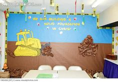 A Construction Illustration On A Sunday School Classroom Wall; Portland Oregon United States Of America