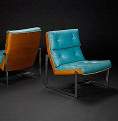 William Plunkett; Leather, Molded Plywood and Chromed Metal Lounge Chair, 1960s.