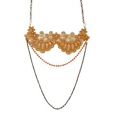 The Collar Necklace - Burnt Orange Lace