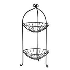 2-Tier Wire Fruit Basket - Black