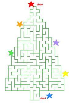 Puzzels voor kinderen: Doolhof Kerst