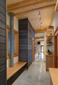 Wood Panel Ceiling Concrete Floor Design Ideas, Pictures, Remodel and Decor