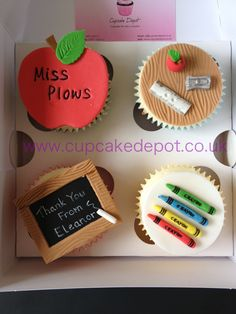 Teacher's thank you cupcakes - For all your cake decorating supplies, please visit craftcomapny.co.uk
