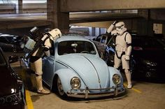 storm trooper locked out from VW Bug