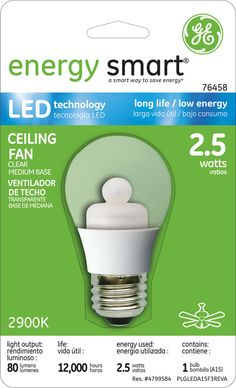 GE Energy Smart 10W Replacement (2.5W) A15 LED Bulb (Warm, Clear) $19.95