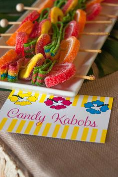 Candy kabobs at a Luau Party #luau #partycandy
