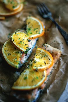 Salmon with orange and thyme #food #recipe