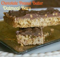 Chocolate Peanut Butter Oatmeal Bars by ItsYummi.com