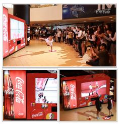 Coca-Cola set up a vending machine in a theater complex in South Korea that challenged people to dance to earn a refreshing Coke beverage. Similar to the Dance Central game on Xbox Kinect, the Coke Dance Vending Machine demonstrated moves and encouraged people passing by to mimic them. The interactive vending machine also allowed users to share photos and videos of their dance moves with their friends.