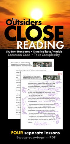 Help your students learn how to dig deep into analyzing text with these FOUR SEPARATE CLOSE READING LESSONS to use with S.E. Hinton's novel, The Outsiders.