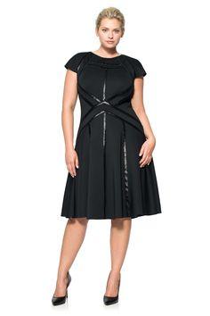 Neoprene A-Line Dress with Paillette Detail | Tadashi Shoji