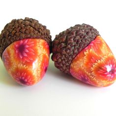 Acorn Decorations  Acorn Pair in Yellow Orange Pink  by LavaGifts, $6.00