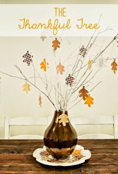 The Thankful Tree! Each member of the family writes something they are thankful for on a leaf every day in November and the tree is full of leaves by Thanksgiving! diy crafts, easy seasonal crafts, thankful tree