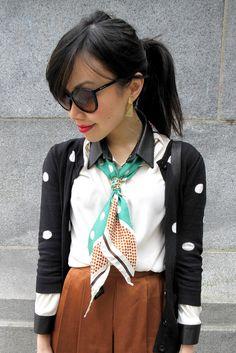 interesting way to wear a silk scarf