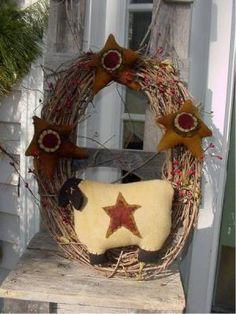 star wreath, primit wreath, door, wreaths
