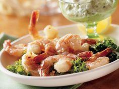 Spicy Lemon Shrimp with Basil Mayo